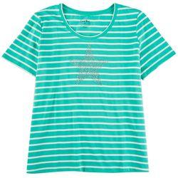 Coral Bay Womens Striped Short Sleeve With Star