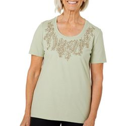 Coral Bay Womens Solid Leaf Embroidered Short Sleeve Top