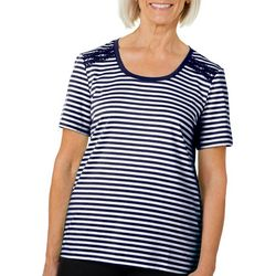 Coral Bay Womens Crochet Shoulder Striped Scoop Neck Top