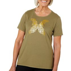 Coral Bay Womens Glitter Butterfly Screen Print Top