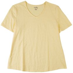 Coral Bay Womens Basic Textured V-Neck Top
