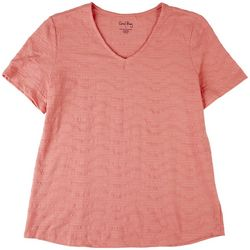 Coral Bay Womens Textured Solid Color Top