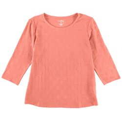 Coral Bay Womens Polka Dot Textured 3/4 Sleeve Top