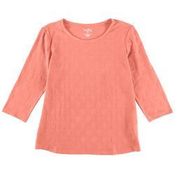 Womens Polka Dot Textured 3/4 Sleeve Top
