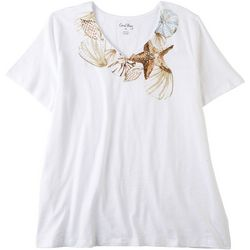 Coral Bay Womens Seashell V-Neck Short Sleeve Top