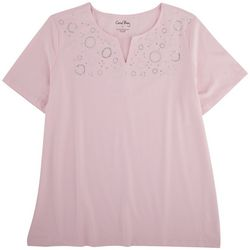 C.B. Casual Womens Circle Embellished  Short Sleeve Top