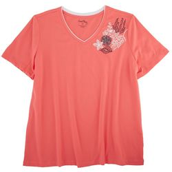 Coral Bay Womens Tropical Corner V-Neck Short Sleeve Top