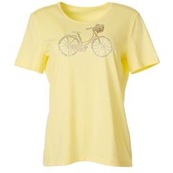 Coral Bay Womens Jewel Embellished Bicycle Top