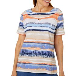 Coral Bay Womens Mixed Animal Stripe Keyhole Neckline Top