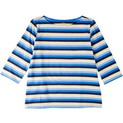 Coral Bay Womens Multi Stripes Everyday 3/4 Sleeve Tee