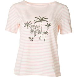 Coral Bay Womens Striped Palms Short Sleeve Top