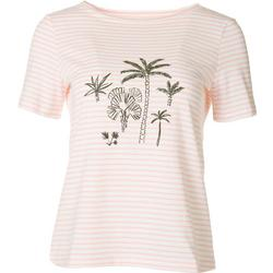 Womens Striped Palms Short Sleeve Top