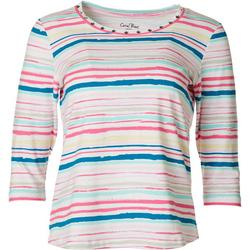 Womens Studded Stripe 3/4 Sleeve Top