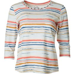 Coral Bay Womens Studded Stripe 3/4 Sleeve Top