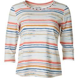 Womens Studded Stripe 3/4 Sleeve Top