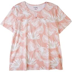 Coral Bay Womens Palm Frond Keyhole Short Sleeve Top