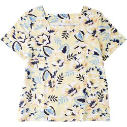 Coral Bay Womens Floral Print Square Neck Top