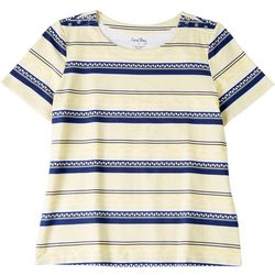 Coral Bay Womens Boat Stripes Short Sleeve Top