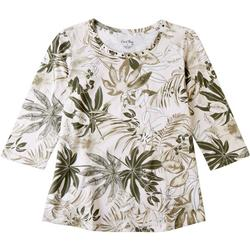 Womens Palm Frond Print Top