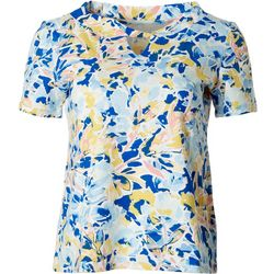 Coral Bay Womens Short Sleeve Twist Keyhole Floral Top