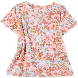 Womens Short Sleeve Twist Keyhole Floral Top