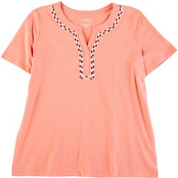 Coral Bay Womens Solid Bandbox Split Neck Top