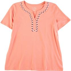 Womens Solid Bandbox Split Neck Top