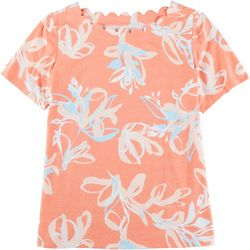Coral Bay Womens Scalloped Boat Neck Floral Top