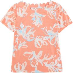 Womens Scalloped Boat Neck Floral Top