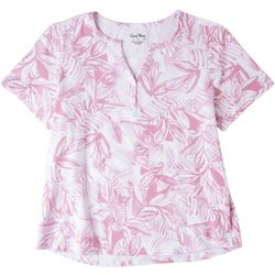 Coral Bay Womens Tropical Print Short Sleeve Top