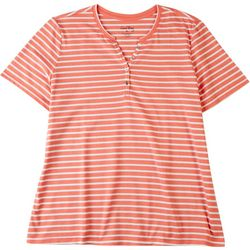 Coral Bay Womens Striped V-Neck T-Shirt 1/4 Button Down