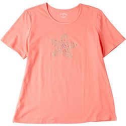 Coral Bay Womens Starfish Scoop Neck Short Sleeve Top