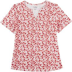 Womens Valentine Hearts Short Sleeve Top