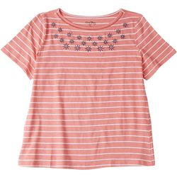 Coral Bay Womens Striped Short SleevE With Anchors