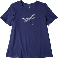 Coral Bay Womens Dragon Fly Embroidered Top