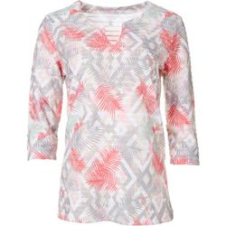Coral Bay Womens Jacquard Diamond Split Neck Textured Top