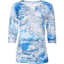 Womens Jacquard Boat Print Split Neck Textured Top