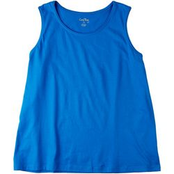 Coral Bay Womens Solid Scoop Neck Tank Top