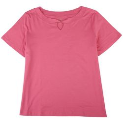 Coral Bay Womens Solid Scoop Neck With Knot Detail T-Shirt