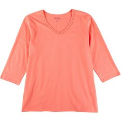 Coral Bay Womens Solid V-Neck 3/4 Sleeve Top