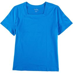 Coral Bay Womens Basic Square Neck Short Sleeve Top