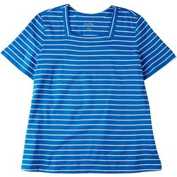 Coral Bay Womens Striped Square Neck Short Sleeve Top