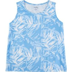 Coral Bay Womens Palm Tree Printed Scoop Neck Tank Top