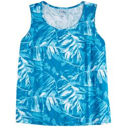 Coral Bay Womens Soft Leaves Scoop Neck Tank Top