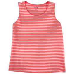 Womens Striped Round Neck Tank Top