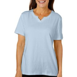 Coral Bay Womens Solid Split Neck Top