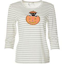 Coral Bay Womens Three Quarter Sleeve Cat Pumpkin Top