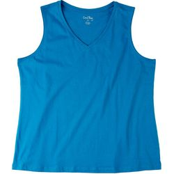 Coral Bay Womens Solid V-Neck Tank Top