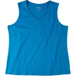 Womens Solid V-Neck Tank Top
