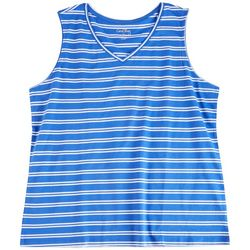 Coral Bay Womens Solid Striped Tank Top